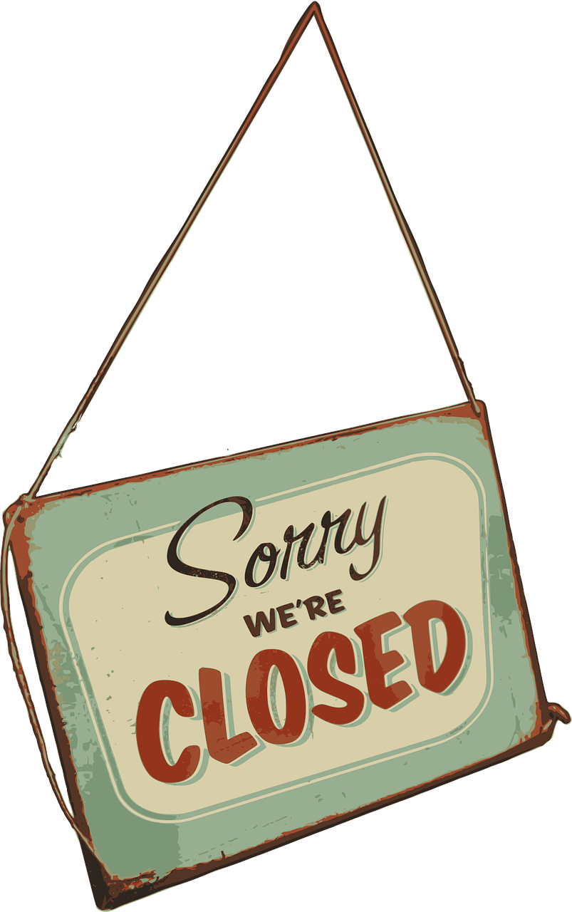 sign, closed, retail
